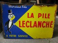 Marché Puces Porte Vanves Paris Antiques Flea Market - Plaque publicitaire Pile Leclanché