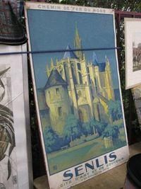 Marché Puces Porte Vanves Paris Antiques Flea Market - Poster Chemins de fer du Nord, Senlis