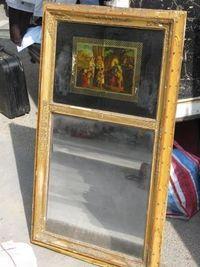 Marché Puces Porte Vanves Paris Antiques Flea Market - Miroir 19e avec peinture sous-verre